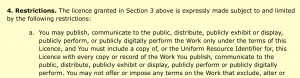 You must provide a copy of the licence or the Uniform Resource Identifier for the licence