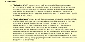 """Definitions of """"collective work"""" and """"derivative work"""" for in 1. a 1.b CC licence"""